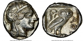 ATTICA. Athens. Ca. 440-404 BC. AR tetradrachm (25mm, 17.20 gm, 10h). NGC MS 5/5 - 4/5. Mid-mass coinage issue. Head of Athena right, wearing crested ...
