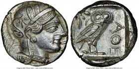 ATTICA. Athens. Ca. 440-404 BC. AR tetradrachm (24mm, 17.21 gm, 7h). NGC MS 5/5 - 4/5. Mid-mass coinage issue. Head of Athena right, wearing crested A...
