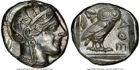ATTICA. Athens. Ca. 440-404 BC. AR tetradrachm (24mm, 17.18 gm, 5h). NGC MS 5/5 - 4/5. Mid-mass coinage issue. Head of Athena right, wearing crested A...