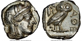 ATTICA. Athens. Ca. 440-404 BC. AR tetradrachm (25mm, 17.20 gm, 5h). NGC MS 5/5 - 4/5. Mid-mass coinage issue. Head of Athena right, wearing crested A...