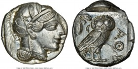 ATTICA. Athens. Ca. 440-404 BC. AR tetradrachm (25mm, 17.22 gm, 10h). NGC MS 4/5 - 5/5. Mid-mass coinage issue. Head of Athena right, wearing crested ...