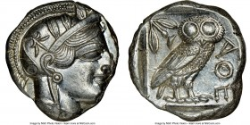 ATTICA. Athens. Ca. 440-404 BC. AR tetradrachm (24mm, 17.21 gm, 1h). NGC MS 4/5 - 5/5. Mid-mass coinage issue. Head of Athena right, wearing crested A...