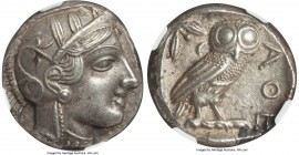 ATTICA. Athens. Ca. 440-404 BC. AR tetradrachm (28mm, 17.20 gm, 9h). NGC Choice AU S 5/5 - 5/5. Mid-mass coinage issue. Head of Athena right, wearing ...