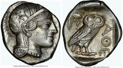 ATTICA. Athens. Ca. 440-404 BC. AR tetradrachm (26mm, 17.19 gm, 7h). NGC Choice AU 5/5 - 4/5. Mid-mass coinage issue. Head of Athena right, wearing cr...