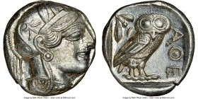 ATTICA. Athens. Ca. 440-404 BC. AR tetradrachm (23mm, 17.21 gm, 12h). NGC Choice AU 4/5 - 4/5. Mid-mass coinage issue. Head of Athena right, wearing c...