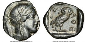 ATTICA. Athens. Ca. 440-404 BC. AR tetradrachm (26mm, 17.22 gm, 9h). NGC Choice AU 4/5 - 4/5. Mid-mass coinage issue. Head of Athena right, wearing cr...