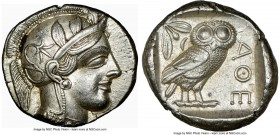 ATTICA. Athens. Ca. 440-404 BC. AR tetradrachm (26mm, 17.21 gm, 5h). NGC AU S 5/5 - 5/5. Mid-mass coinage issue. Head of Athena right, wearing crested...