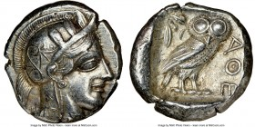 ATTICA. Athens. Ca. 440-404 BC. AR tetradrachm (26mm, 17.17 gm, 3h). NGC AU 5/5 - 4/5, Full Crest. Mid-mass coinage issue. Head of Athena right, weari...