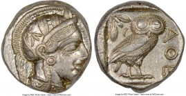 ATTICA. Athens. Ca. 440-404 BC. AR tetradrachm (23mm, 17.21 gm, 1h). NGC AU 4/5 - 5/5. Mid-mass coinage issue. Head of Athena right, wearing crested A...