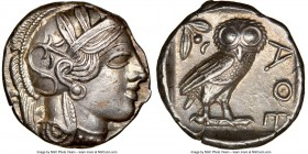 ATTICA. Athens. Ca. 440-404 BC. AR tetradrachm (24mm, 17.19 gm, 9h). NGC AU 5/5 - 3/5, scuff. Mid-mass coinage issue. Head of Athena right, wearing cr...