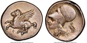 CORINTHIA. Corinth. Ca. 345-307 BC. AR stater (22mm, 8.54 gm, 5h). NGC Choice XF. Pegasus with pointed wing flying left; Ϙ below / Head of Athena left...