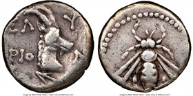 CRETE. Elyrus. Ca. 330-270 BC. AR drachm (16mm, 3.24 gm, 3h). NGC VF 4/5 - 4/5. EΛ-Y/PIO-N, head and neck of horned goat right; arrowhead left below /...