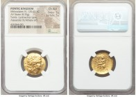 PONTIC KINGDOM. Mithradates VI Eupator (120-63 BC). AV stater (20mm, 8.33 gm, 12h). NGC Choice AU 5/5 - 5/5. Late posthumous issue in name and types o...