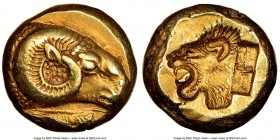 LESBOS. Mytilene. Ca. 521-478 BC. EL sixth-stater or hecte (10mm, 2.55 gm, 6h). NGC AU 4/5 - 5/5. Head of ram right; rooster feeding left below / Incu...