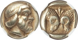 LESBOS. Mytilene. Ca. 454-427 BC. EL sixth-stater or hecte (10mm, 2.53 gm, 3h). NGC Choice XF S 5/5 - 5/5, Fine Style. Diademed head of Silenus right ...