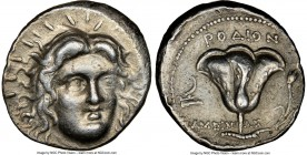 CARIAN ISLANDS. Rhodes. Ca. 230-205 BC. AR tetradrachm (26mm, 13.40 gm, 12h). NGC XF 5/5 - 3/5. Ameinias, magistrate. Radiate facing head of Helios, t...