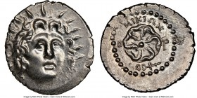 CARIAN ISLANDS. Rhodes. Ca. 84-30 BC. AR drachm (20mm, 4.20 gm, 10h). NGC MS 5/5 - 4/5. Micion, magistrate. Radiate head of Helios facing, turned slig...