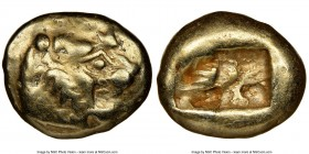LYDIAN KINGDOM. Alyattes or Walwet (ca. 610-546 BC). EL third-stater or trite (13mm, 4.65 gm). NGC VF 4/5 - 4/5. Uninscribed, Lydo-Milesian standard. ...