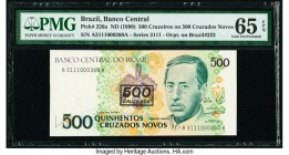 Brazil Banco Central 500 Cruzeiros on 500 Cruzados Novos ND (1990) Pick 226a Low Serial 360 PMG Gem Uncirculated 65 EPQ. This example is the last of a...