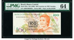 Brazil Banco Central 100 Cruzeiros on 100 Cruzados ND (1990) Pick 224a Low Serial 360 PMG Choice Uncirculated 64. This example is the first of a match...