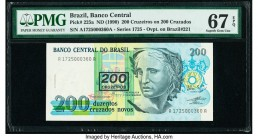 Brazil Banco Central Do Brasil 200 Cruzeiros on 200 Cruzados ND (1990) Pick 225a Low Serial 360 PMG Superb Gem Unc 67 EPQ. This example is the second ...