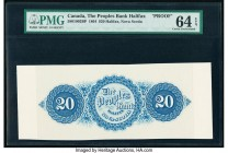 Canada Halifax, NS- People's Bank of Halifax $20 25.5.1864 Pick S1290p Ch.# 580-10-02BP Back Proof PMG Choice Uncirculated 64 EPQ.   HID09801242017  ©...