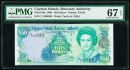 Cayman Islands Monetary Authority 50 Dollars 2001 Pick 29a PMG Superb Gem Unc 67 EPQ.   HID09801242017  © 2020 Heritage Auctions | All Rights Reserved...