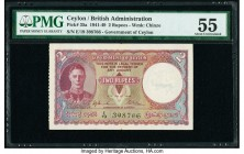 Ceylon Government of Ceylon 2 Rupees 12.7.1944 Pick 35a PMG About Uncirculated 55.   HID09801242017  © 2020 Heritage Auctions | All Rights Reserved