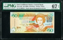 East Caribbean States Central Bank 50 Dollars ND (2008) Pick 50a PMG Superb Gem Unc 67 EPQ.   HID09801242017  © 2020 Heritage Auctions | All Rights Re...