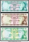 Fiji Government of Fiji 50 Cents; 1 Dollar ND (1969) Pick 58a; 59 About Uncirculated. Fiji Central Monetary Authority 2 Dollars ND (1974) Pick 72b Cri...