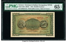 Greece German Occupation 100,000 Drachmai 1944 Pick 125b SB910 PMG Gem Uncirculated 65 EPQ.   HID09801242017  © 2020 Heritage Auctions | All Rights Re...