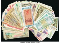 A World Group of mostly Asian Banknotes That Includes Bangladesh; India; Mongolia; Indonesia; South Vietnam; Laos; Cambodia; Ceylon; Philippines; Bhut...