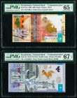 Kazakhstan National Bank 5000; 20,000 Tenge 2008; 2013 (ND 2015) Pick 34a; 46 Two Commemorative Examples PMG Gem Uncirculated 65 EPQ; Superb Gem Unc 6...