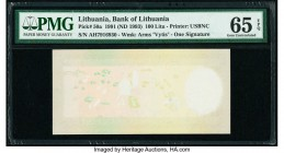 Lithuania Bank of Lithuania 100 Litu 1991 (ND 1993) Pick 50a Missing Print Error PMG Gem Uncirculated 65 EPQ. A fantastic error with a considerable pa...