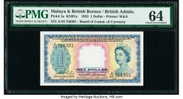 Malaya and British Borneo Board of Commissioners of Currency 1 Dollar 21.3.1953 Pick 1a KNB1a PMG Choice Uncirculated 64.   HID09801242017  © 2020 Her...