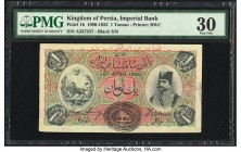 Iran Kingdom of Persia, Imperial Bank 1 Toman 10.4.1900 Pick 1b PMG Very Fine 30. Beginning in 1890, the Imperial Bank of Persia contracted with Bradb...
