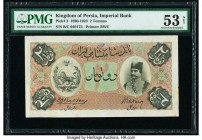 Iran Kingdom of Persia, Imperial Bank 2 Tomans ND (1890-1923) Pick 2 PMG About Uncirculated 53 Net. Today we are offering two unusually high grade iss...