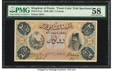Iran Kingdom of Persia, Imperial Bank 2 Tomans 1.7.1901 Pick 2cts1 Color Trial Specimen PMG Choice About Unc 58. A high grade Color Trial Specimen of ...