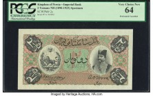 Iran Kingdom of Persia, Imperial Bank 2 Tomans ND (1890-1923) Pick 2s Specimen PCGS Very Choice New 64. An impressive presentation Specimen, with no a...