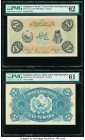 Iran Kingdom of Persia, Imperial Bank 5 Tomans ND (1890-1923) Pick 3cts Front and Back Color Trial Specimen PMG Uncirculated 62; Uncirculated 61. The ...