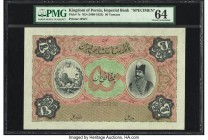Iran Kingdom of Persia, Imperial Bank 50 Tomans ND (1890-1923) Pick 7s Specimen PMG Choice Uncirculated 64. The early 50 through 1000 Tomans notes are...