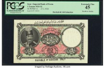 Iran Kingdom of Persia, Imperial Bank 1 Toman 27.3.1926 Abadan Pick 11 PCGS Extremely Fine 45. The pack-fresh condition of this note, with its strong ...