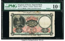 Iran Kingdom of Persia, Imperial Bank 1 Toman 1.6.1925 Pick 11 PMG Very Good 10 Net. A pleasing example of this initial denomination. An early date is...