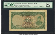Iran Kingdom of Persia, Imperial Bank 2 Tomans 29.11.1924 Pick 12 Teheran PMG Very Fine 25. A well preserved 2 Tomans from the early Imperial Bank of ...