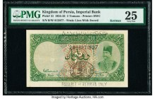 Iran Kingdom of Persia, Imperial Bank 2 Tomans 28.9.1927 Kerman Pick 12 PMG Very Fine 25. The margins are full and the corners are sharp, with bright ...