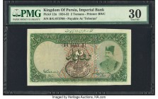 Iran Kingdom of Persia, Imperial Bank 2 Tomans 11.5.1931 Pick 12n Teheran PMG Very Fine 30. An absolutely appealing example of this early design featu...