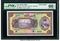 Iran Bank Melli 100 Rials ND (1932 / AH1311) Pick 22s Specimen PMG Gem Uncirculated 66 EPQ. A lovely Specimen example of this higher denomination from...