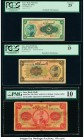 Iran Bank Melli 5; 10; 20 Rials ND (1933); ND (1934) (2) Pick 24a; 25a; 26a Three Examples PCGS Very Fine 25; Fine 15; PMG Very Good 10. Three survivi...