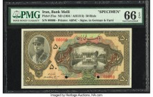 Iran Bank Melli 50 Rials ND (1934 / AH1313) Pick 27as Specimen PMG Gem Uncirculated 66 EPQ. Reza Shah is featured on this brilliantly colored Specimen...