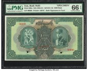 Iran Bank Melli 1000 Rials ND (1934-35 / AH1313-14) Pick 30bs Specimen PMG Gem Uncirculated 66 EPQ. An exceptional Specimen example of the highest den...
